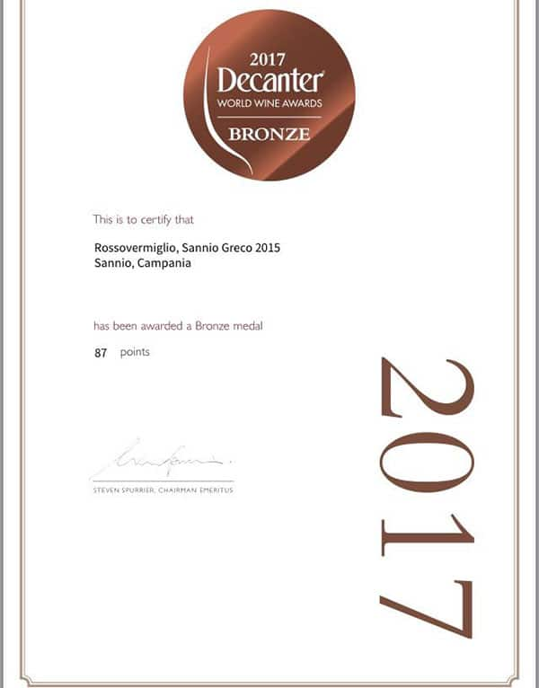 Riconoscimento Decanter World Wine Awards 2017